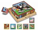 CHILDRENS CHILD MELISSA AND DOUG WOODEN FARM ANIMALS CUBE PUZZLE